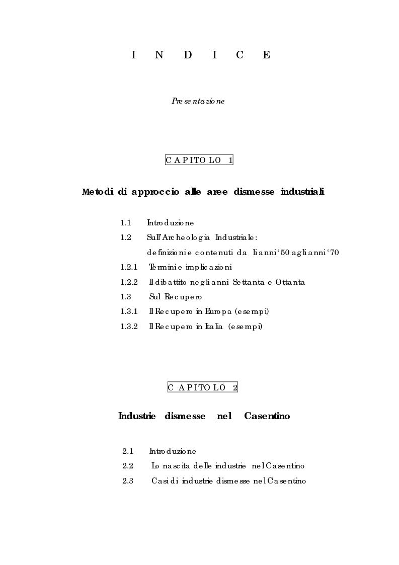 Indice della tesi: Recupero urbano ex cementificio Sacci-Corsalone di Arezzo, Pagina 1