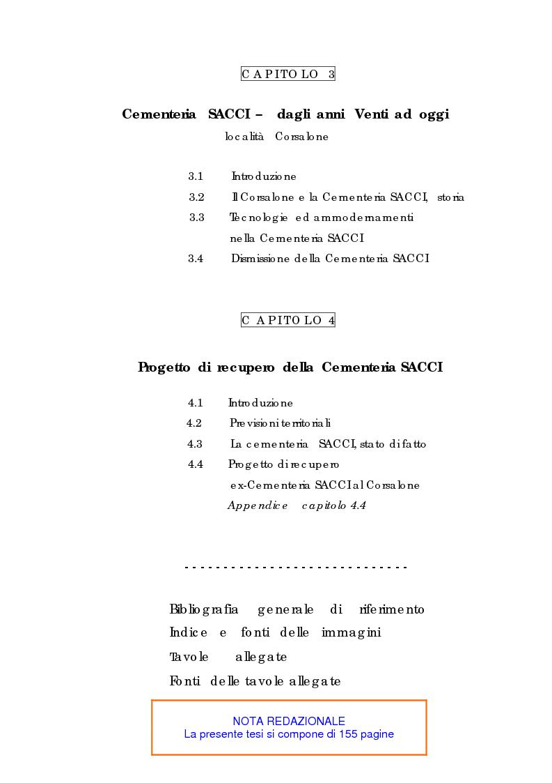 Indice della tesi: Recupero urbano ex cementificio Sacci-Corsalone di Arezzo, Pagina 2