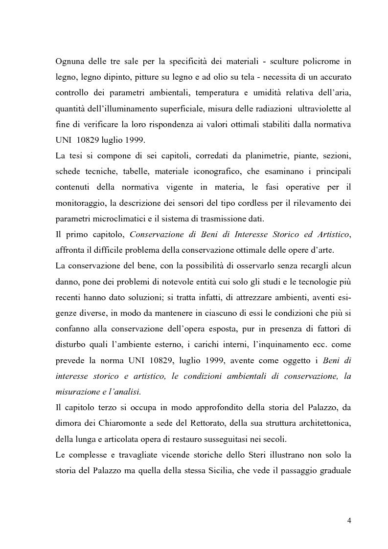 Anteprima della tesi: Messa a punto di un sistema di monitoraggio delle condizioni ambientali per la conservazione dei beni di interesse storico ed artistico. Lo Steri di Palermo, Pagina 2