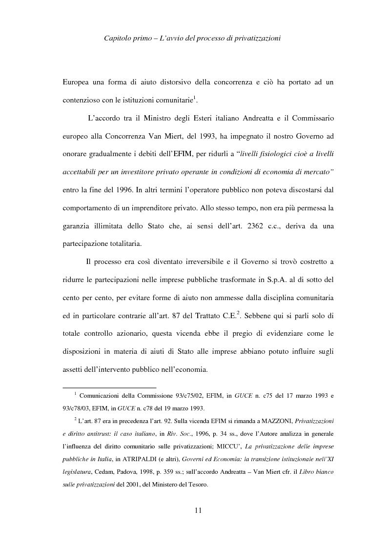 Anteprima della tesi: Le società privatizzate: legislazione speciale e diritto comune, Pagina 11