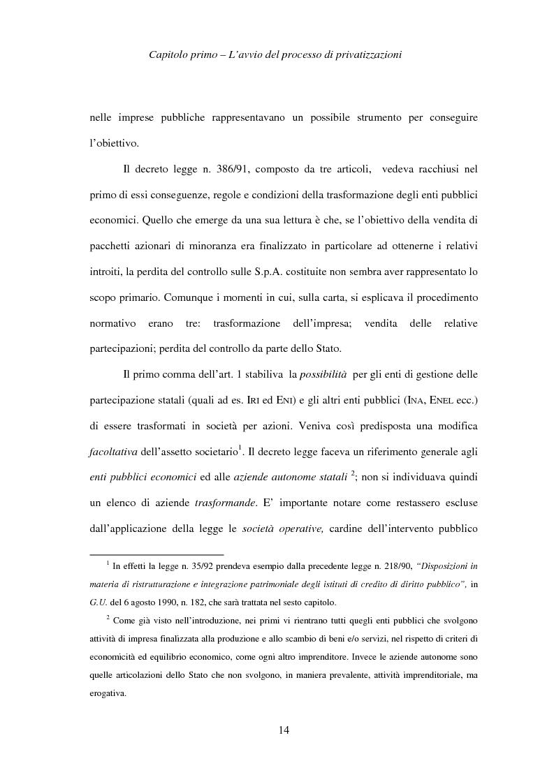 Anteprima della tesi: Le società privatizzate: legislazione speciale e diritto comune, Pagina 14