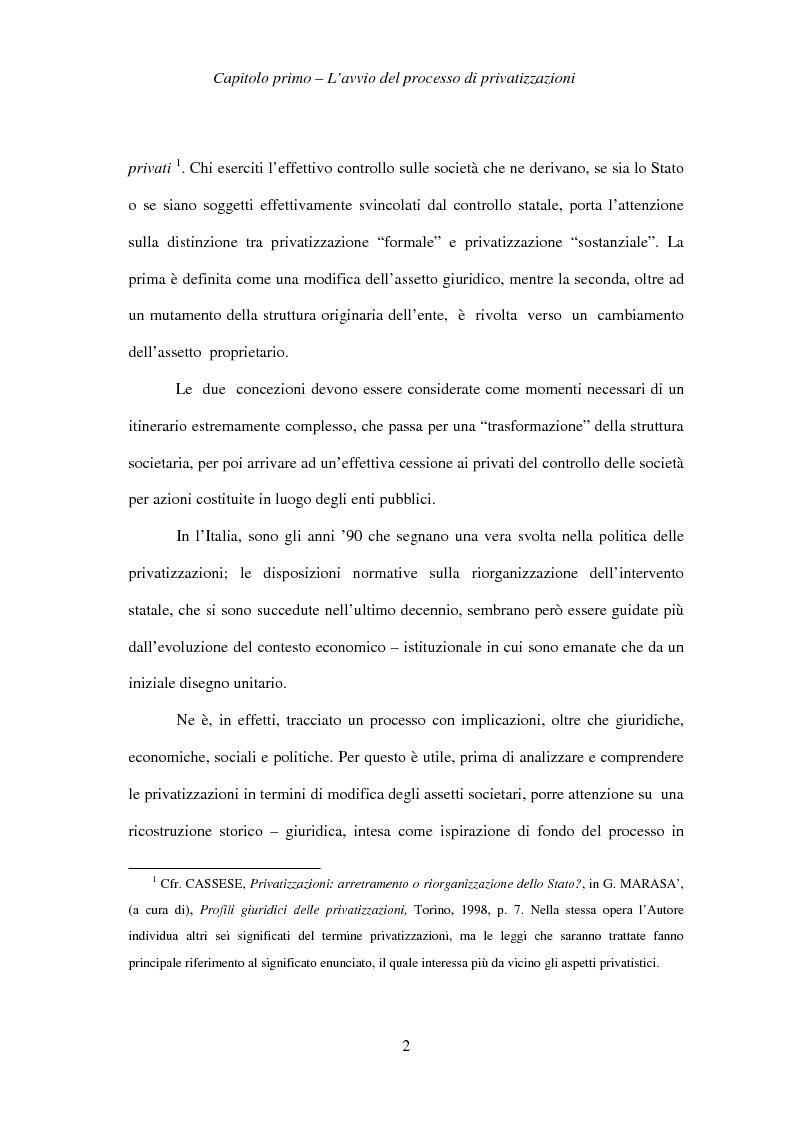 Anteprima della tesi: Le società privatizzate: legislazione speciale e diritto comune, Pagina 2