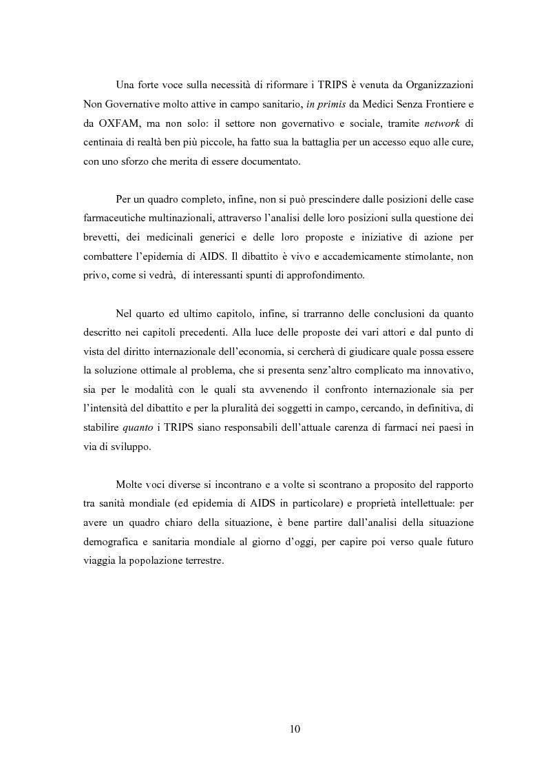 Anteprima della tesi: Sanità mondiale e proprietà intellettuale. Il futuro dell'accordo Trips relativo ai farmaci dopo il caso Sudafrica, Pagina 10