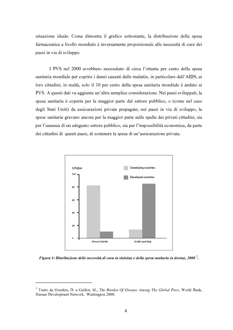 Anteprima della tesi: Sanità mondiale e proprietà intellettuale. Il futuro dell'accordo Trips relativo ai farmaci dopo il caso Sudafrica, Pagina 4