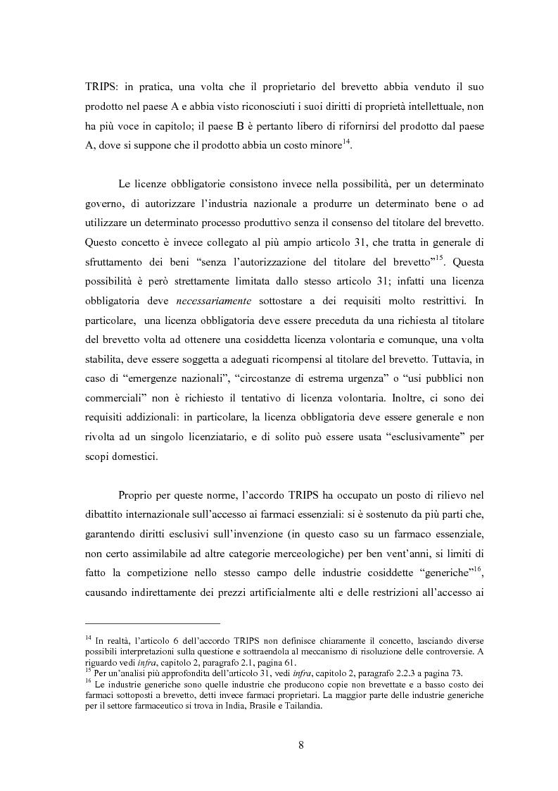 Anteprima della tesi: Sanità mondiale e proprietà intellettuale. Il futuro dell'accordo Trips relativo ai farmaci dopo il caso Sudafrica, Pagina 8