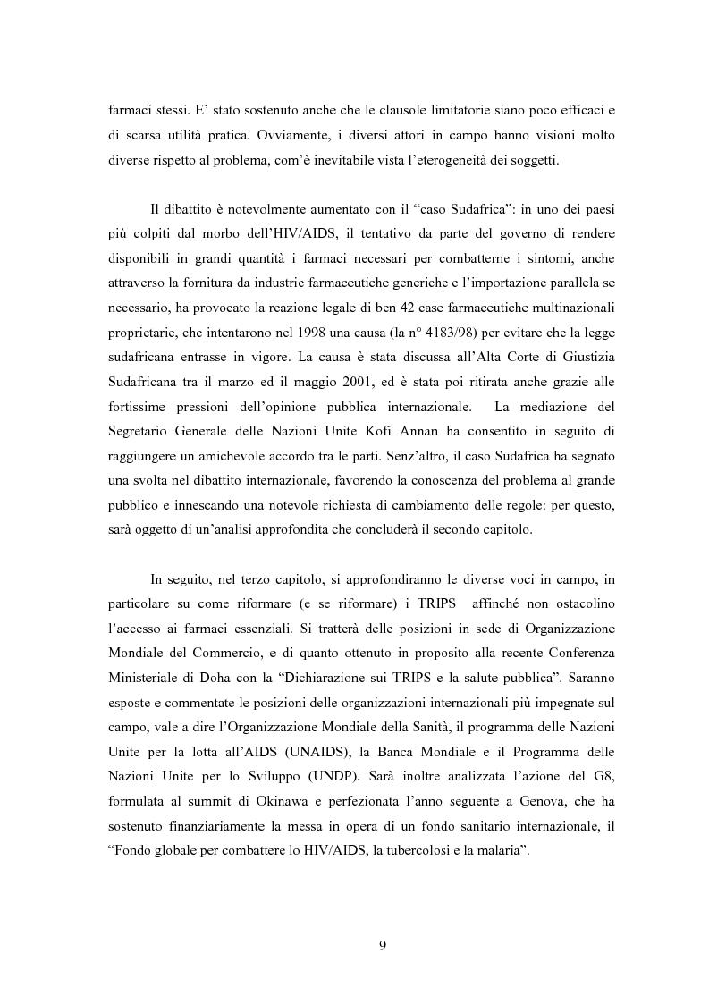 Anteprima della tesi: Sanità mondiale e proprietà intellettuale. Il futuro dell'accordo Trips relativo ai farmaci dopo il caso Sudafrica, Pagina 9