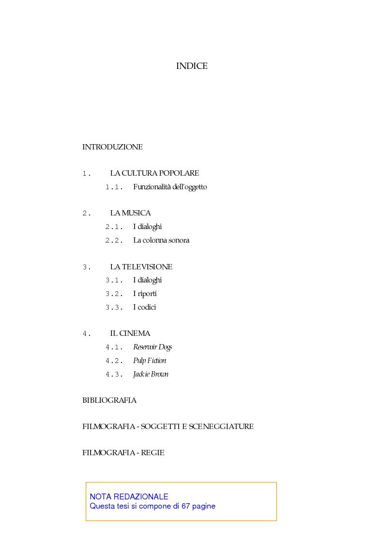 Indice della tesi: La citazione nel cinema di Quentin Tarantino, Pagina 1