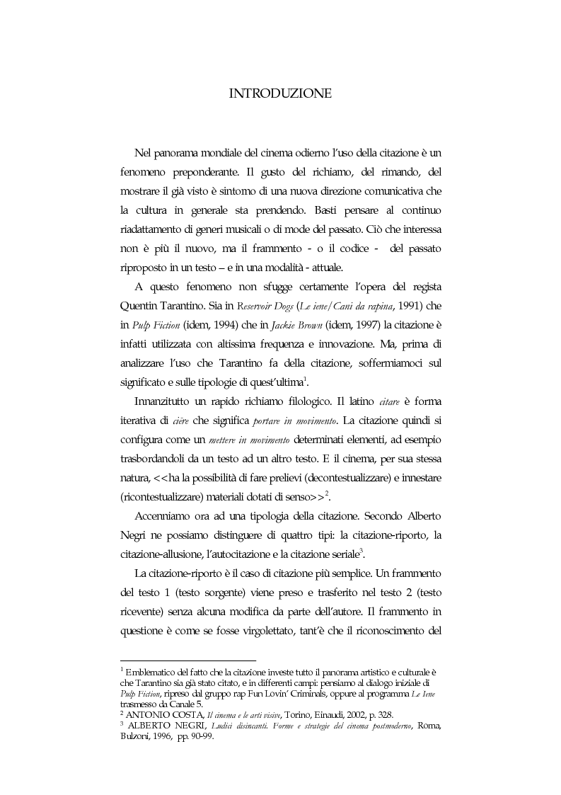 Anteprima della tesi: La citazione nel cinema di Quentin Tarantino, Pagina 1