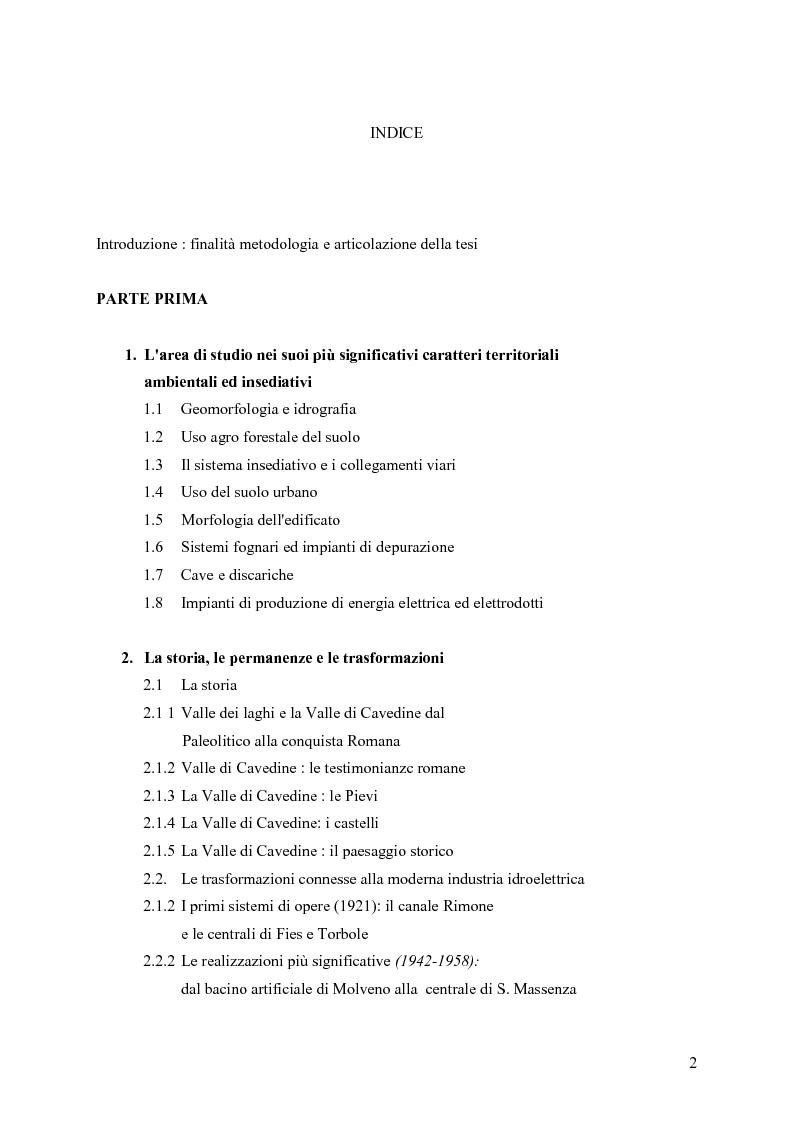 Indice della tesi: La riqualificazione ed il restauro territoriale della Valle dei Laghi e di Cavedine - Trentino Occidentale, Pagina 1