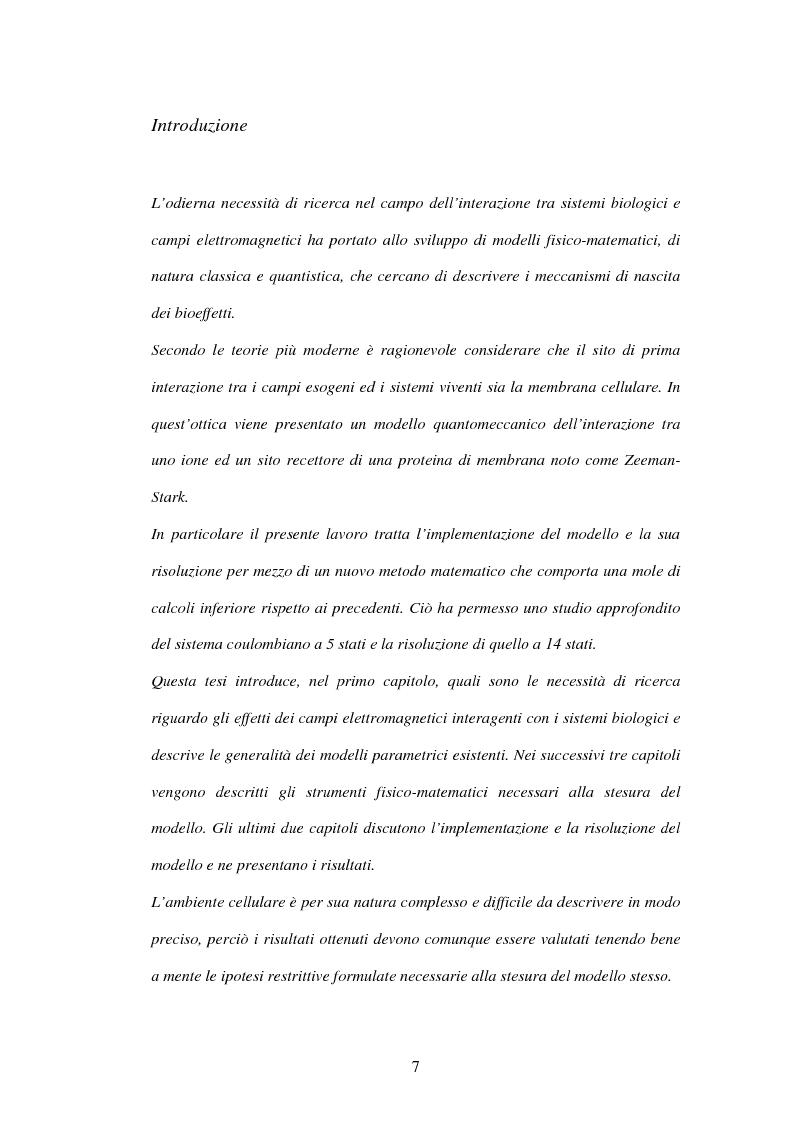 Anteprima della tesi: Modelli a risonanza parametrica dell'interazione bioelettromagnetica, Pagina 1