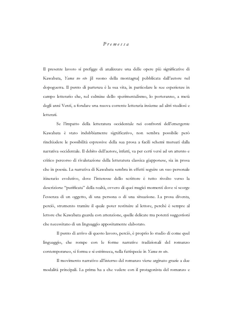 Anteprima della tesi: Tempo, memoria e impulso antinarrativo in Yama no oto di Kawabata Yasunari, Pagina 1