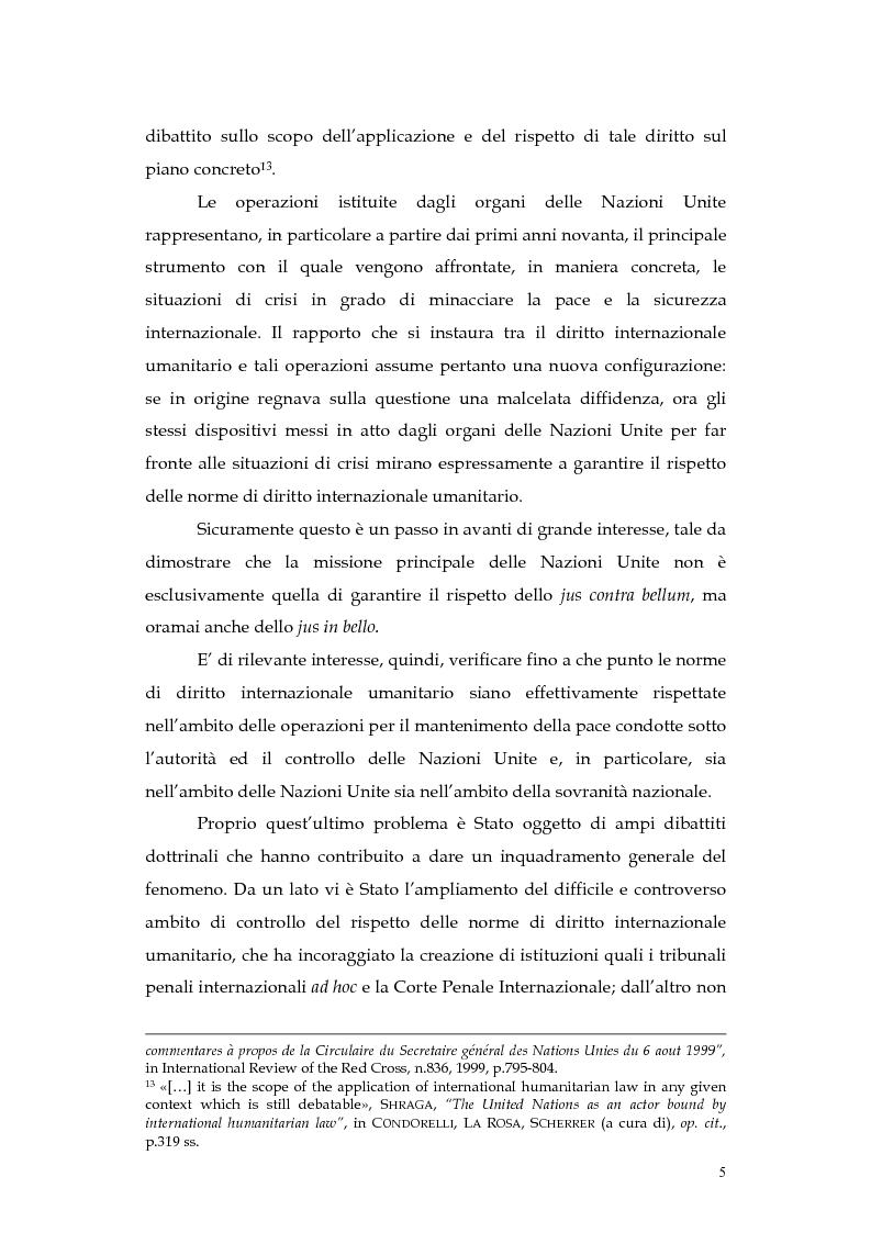 Anteprima della tesi: Operazioni delle Nazioni Unite per il mantenimento della pace e obblighi di diritto internazionale umanitario, Pagina 5