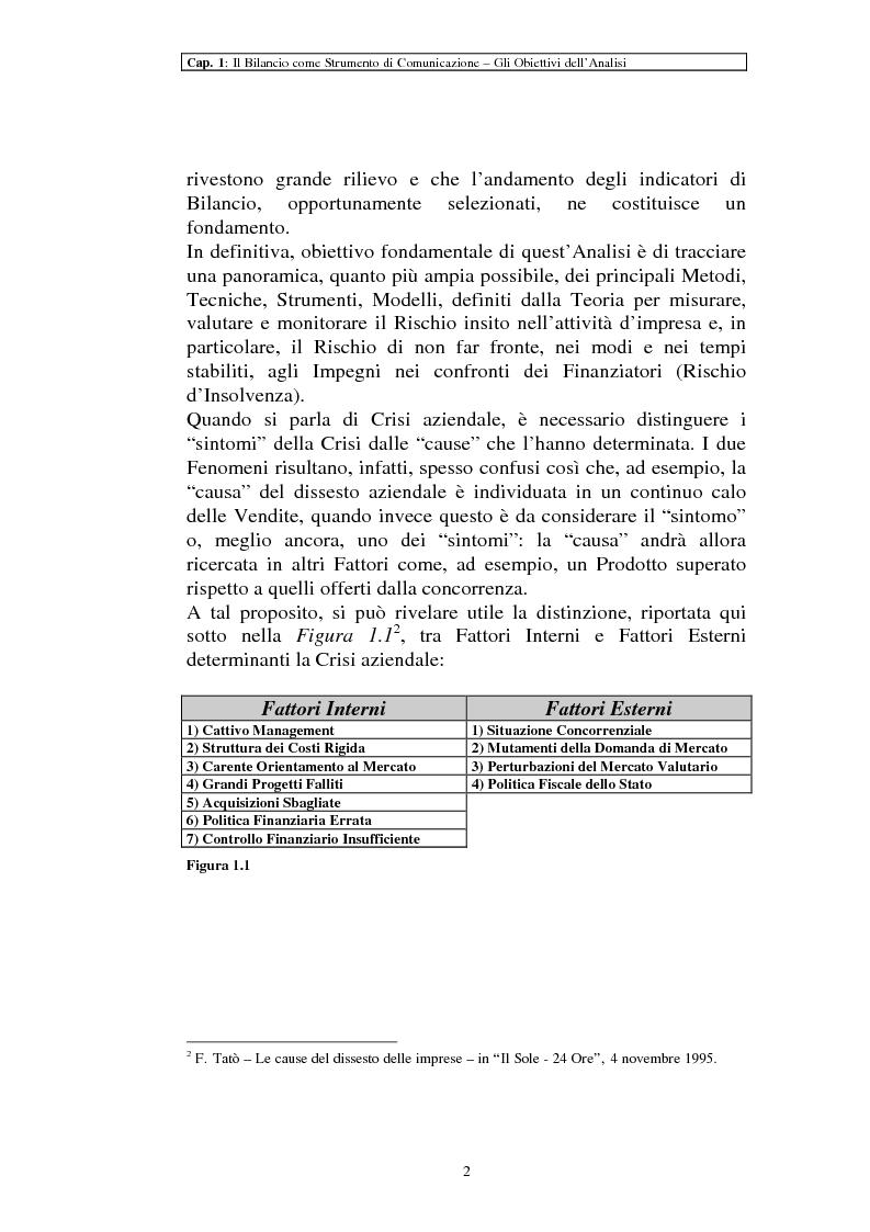 Anteprima della tesi: Il ruolo dei dati quantitativi di bilancio nell'analisi delle dinamiche d'impresa. Applicazioni nella Cassa di Risparmio di Pistoia e Pescia SpA, Pagina 2