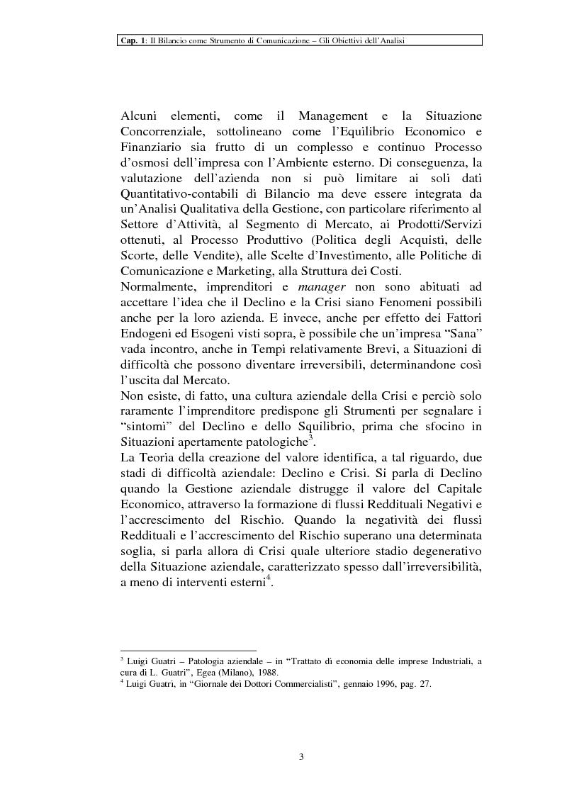 Anteprima della tesi: Il ruolo dei dati quantitativi di bilancio nell'analisi delle dinamiche d'impresa. Applicazioni nella Cassa di Risparmio di Pistoia e Pescia SpA, Pagina 3