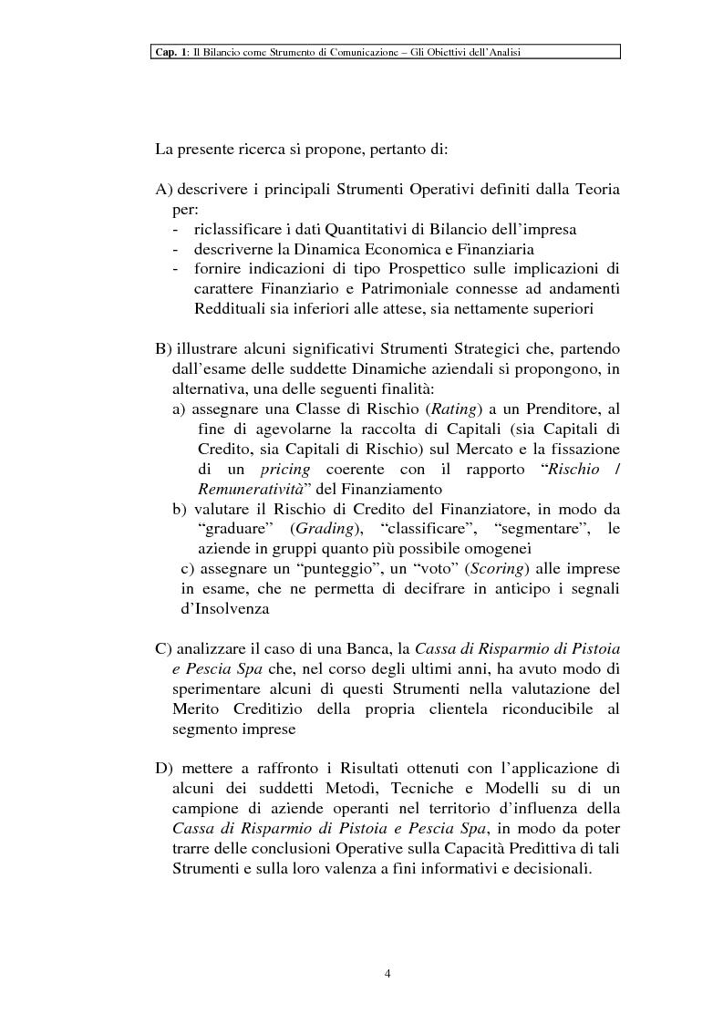 Anteprima della tesi: Il ruolo dei dati quantitativi di bilancio nell'analisi delle dinamiche d'impresa. Applicazioni nella Cassa di Risparmio di Pistoia e Pescia SpA, Pagina 4