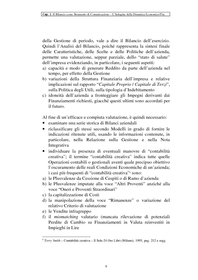 Anteprima della tesi: Il ruolo dei dati quantitativi di bilancio nell'analisi delle dinamiche d'impresa. Applicazioni nella Cassa di Risparmio di Pistoia e Pescia SpA, Pagina 6