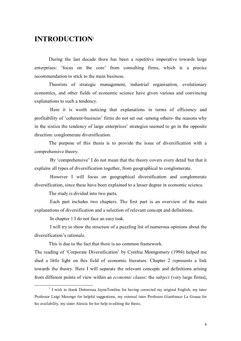 Anteprima della tesi: A Theory of Diversification, Pagina 1