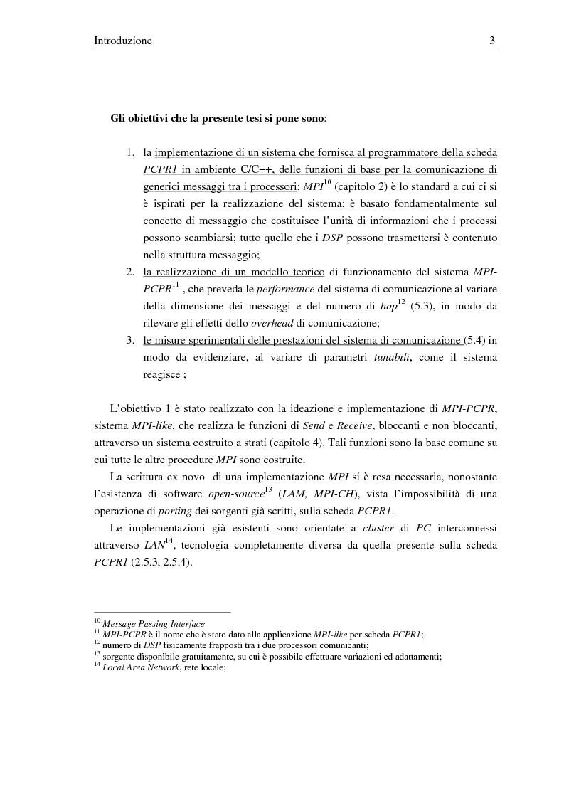 Anteprima della tesi: Implementazione di una libreria Mpi-like per una scheda proprietaria multi-Dsp, Pagina 3