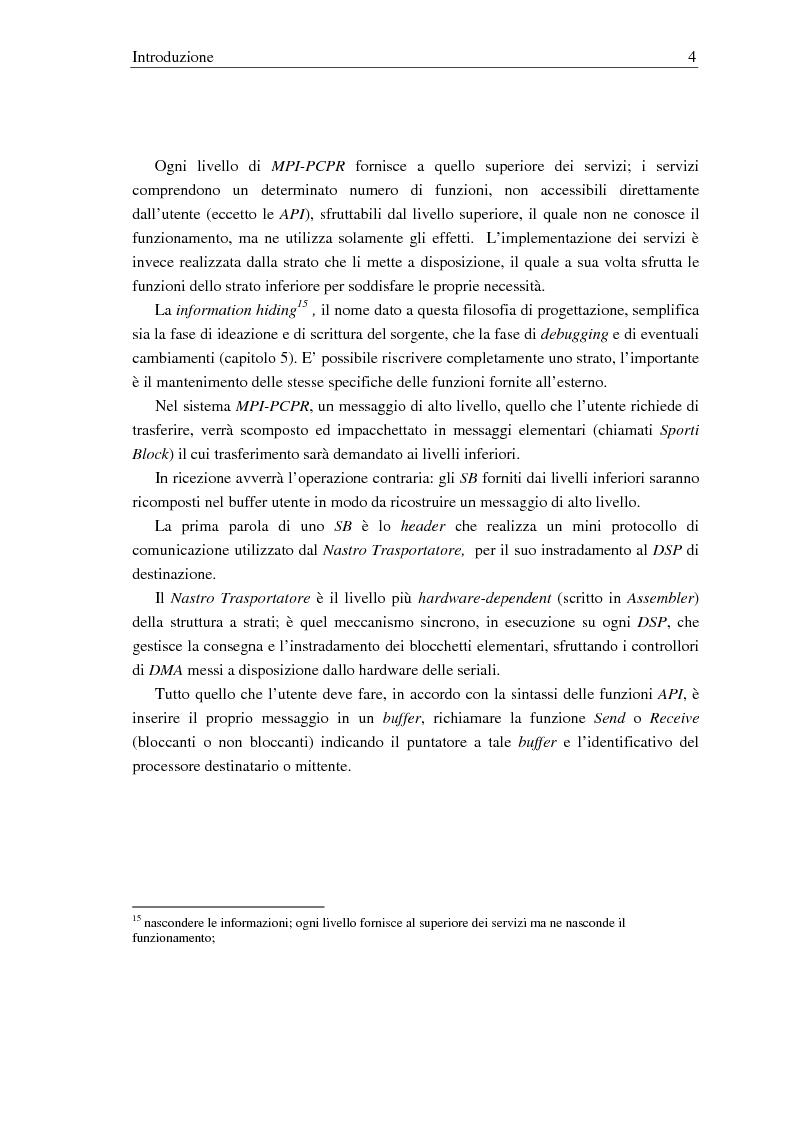 Anteprima della tesi: Implementazione di una libreria Mpi-like per una scheda proprietaria multi-Dsp, Pagina 4