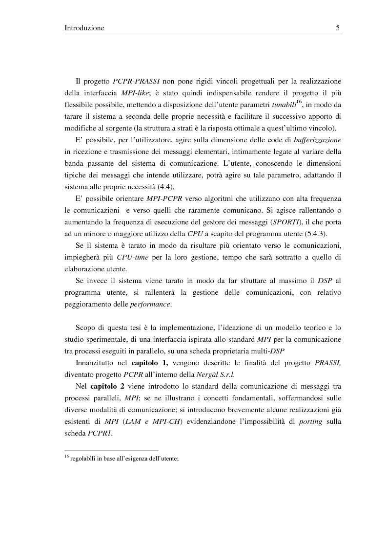 Anteprima della tesi: Implementazione di una libreria Mpi-like per una scheda proprietaria multi-Dsp, Pagina 5