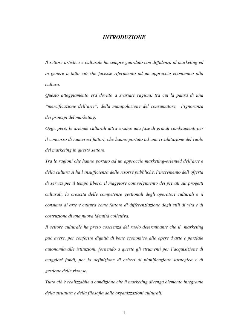 Anteprima della tesi: Marketing delle arti e della cultura: principi, strumenti, applicazioni, Pagina 1