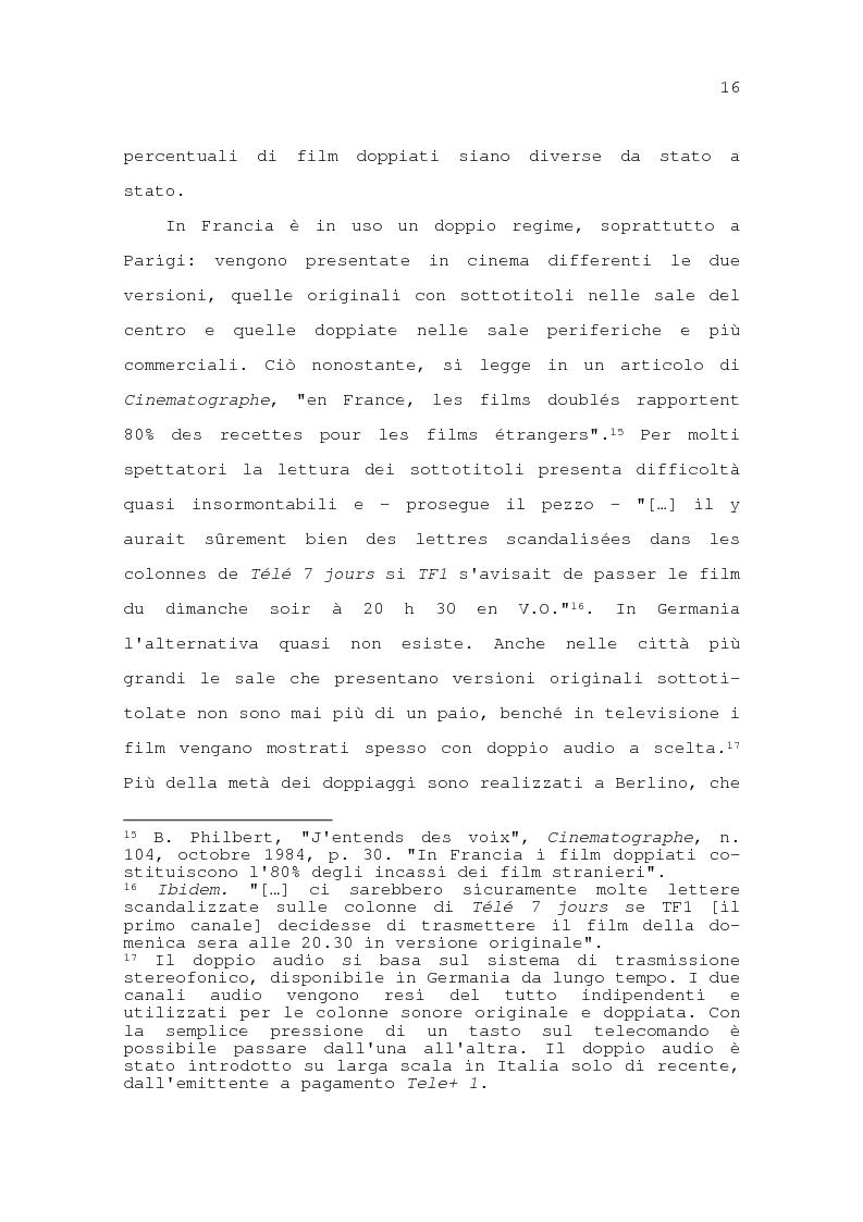 Estratto dalla tesi: Il problema della traduzione nel doppiaggio cinematografico in Italia