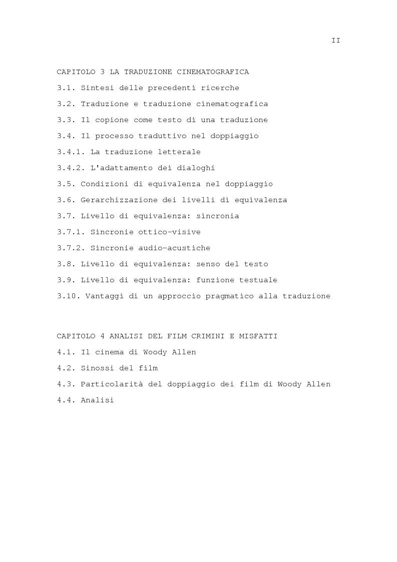 Indice della tesi: Il problema della traduzione nel doppiaggio cinematografico in Italia, Pagina 2