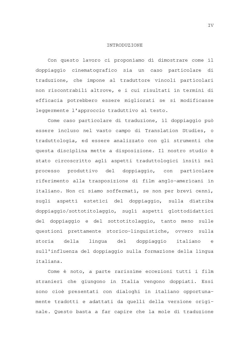 Anteprima della tesi: Il problema della traduzione nel doppiaggio cinematografico in Italia, Pagina 1