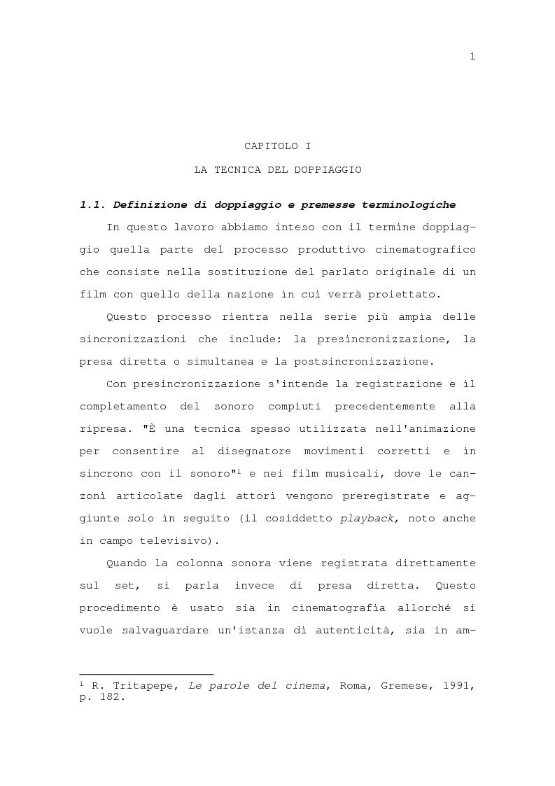 Anteprima della tesi: Il problema della traduzione nel doppiaggio cinematografico in Italia, Pagina 7