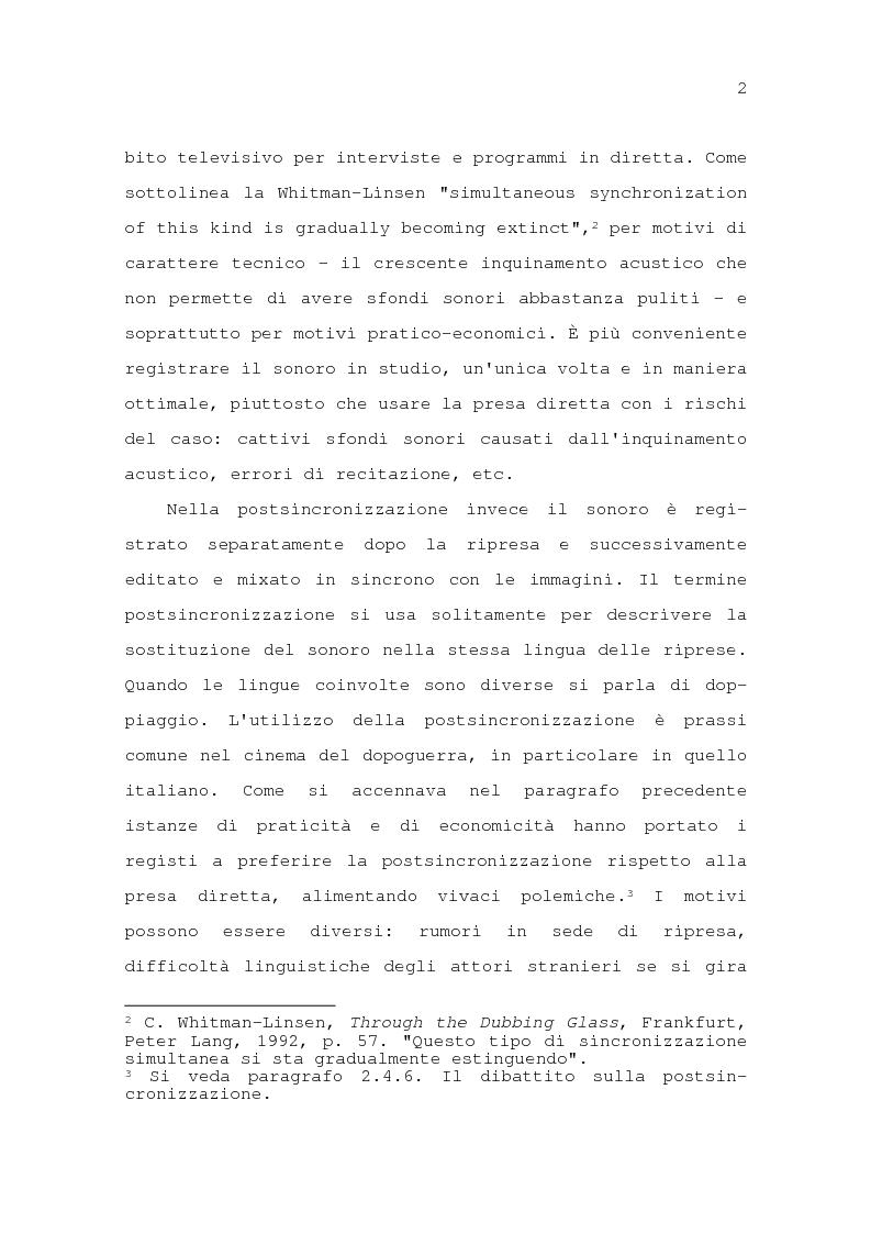 Anteprima della tesi: Il problema della traduzione nel doppiaggio cinematografico in Italia, Pagina 8