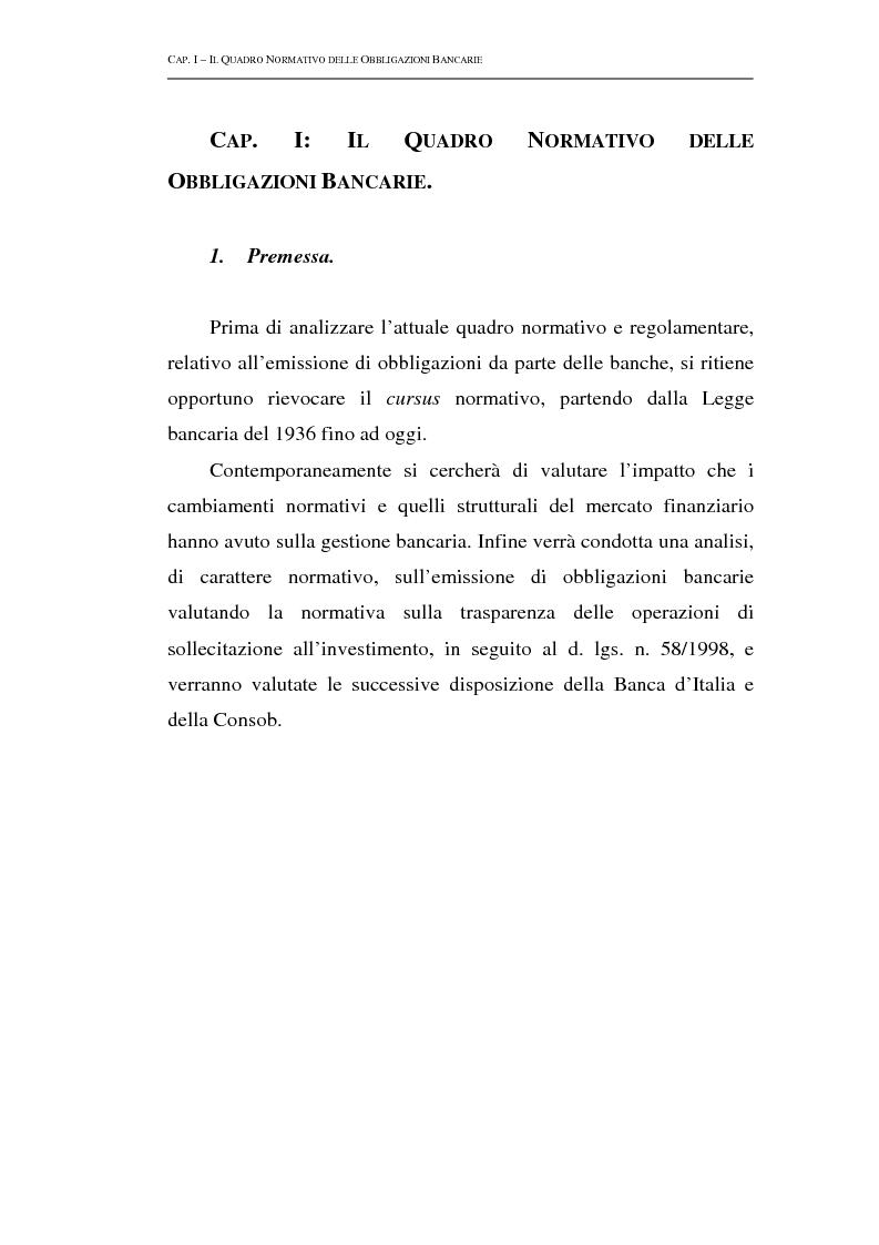 Anteprima della tesi: Le obbligazioni bancarie: profili normativi e implicazioni gestionali, Pagina 3