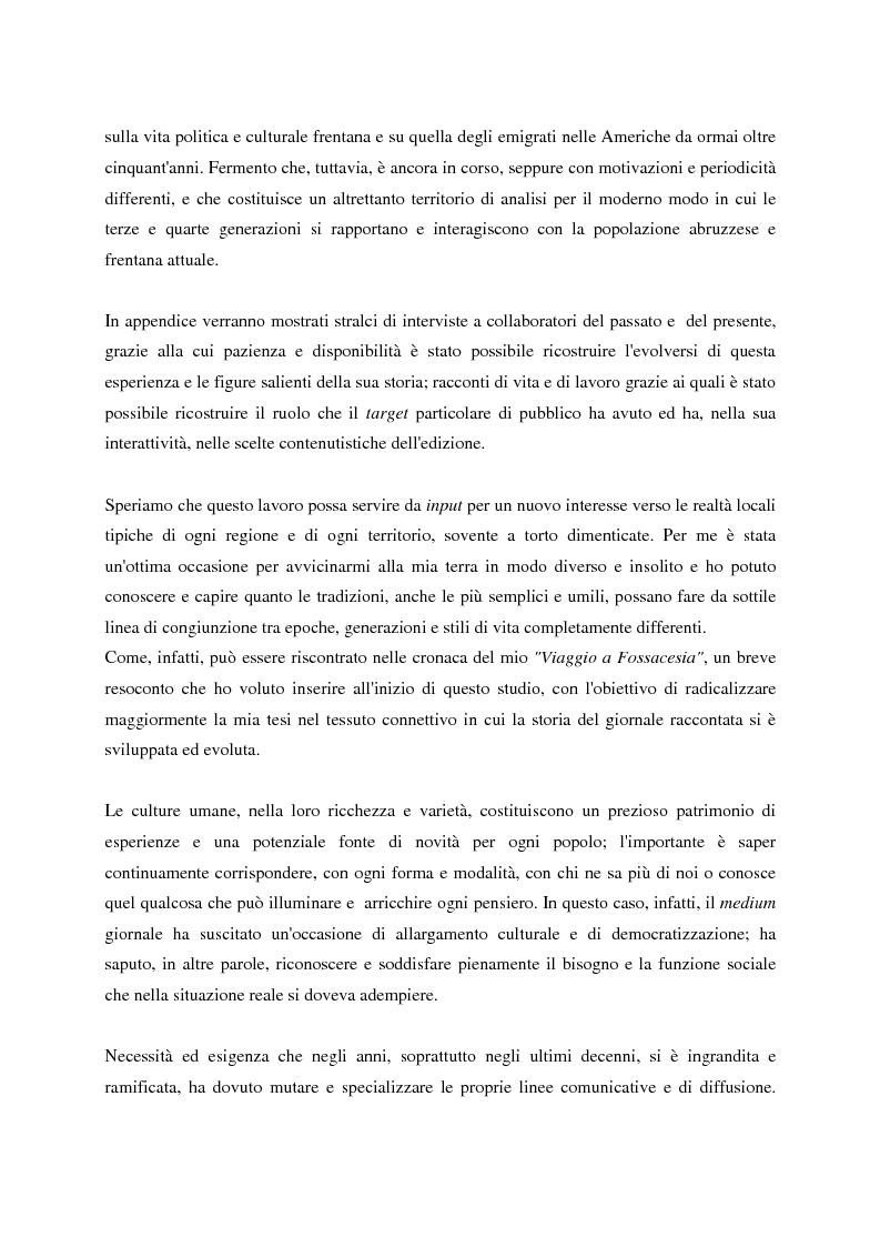Anteprima della tesi: Un giornale per emigranti: ''La Voce di Fossacesia'', Pagina 4