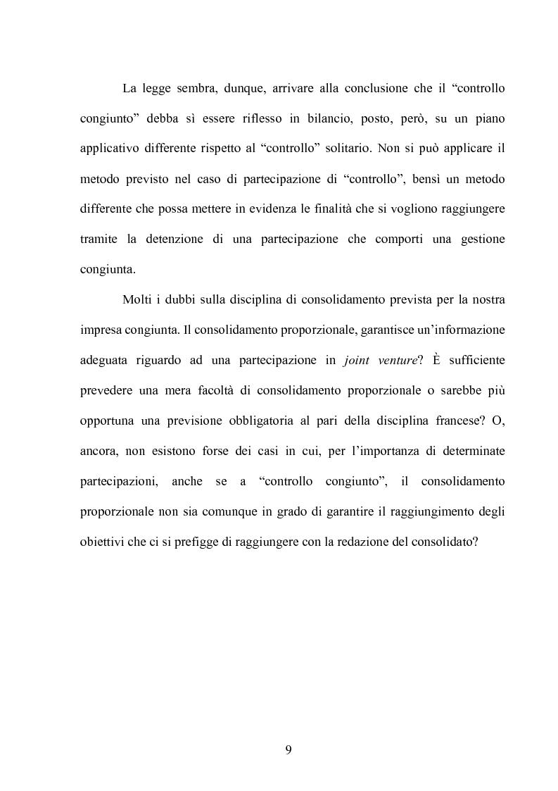 Anteprima della tesi: Le partecipazioni a ''controllo congiunto'': il caso delle joint ventures, Pagina 4