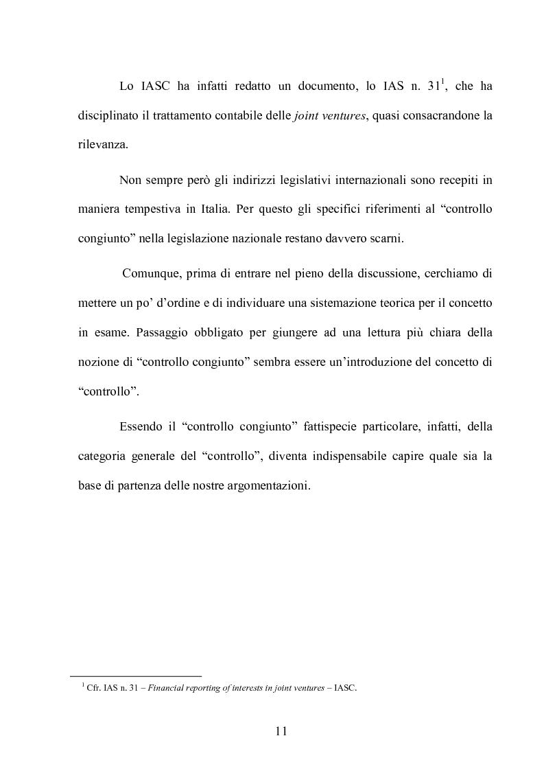 Anteprima della tesi: Le partecipazioni a ''controllo congiunto'': il caso delle joint ventures, Pagina 6