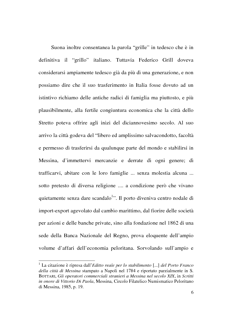 Anteprima della tesi: Patologie e rimedi dal diario inedito di Federico Grill, banchiere tedesco nella Messina dell'Ottocento, Pagina 4