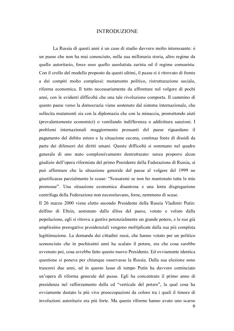 Anteprima della tesi: La Russia di Putin: le riforme nel quadro istituzionale e federalista delineato nella costituzione del 1993, Pagina 1