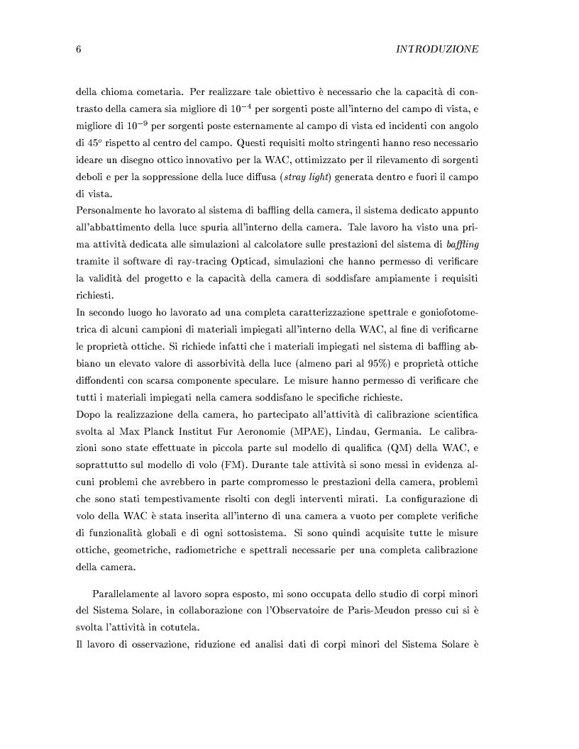 Anteprima della tesi: Missione Rosetta: caratterizzazione scientifica della Wide Angle Camera e studio fisico di corpi minori del Sistema Solare, Pagina 2