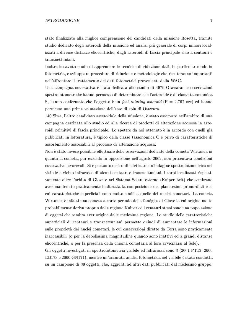 Anteprima della tesi: Missione Rosetta: caratterizzazione scientifica della Wide Angle Camera e studio fisico di corpi minori del Sistema Solare, Pagina 3