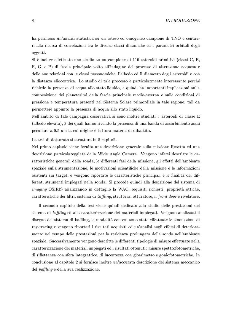 Anteprima della tesi: Missione Rosetta: caratterizzazione scientifica della Wide Angle Camera e studio fisico di corpi minori del Sistema Solare, Pagina 4