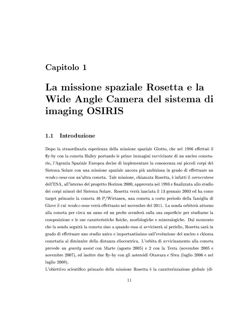 Anteprima della tesi: Missione Rosetta: caratterizzazione scientifica della Wide Angle Camera e studio fisico di corpi minori del Sistema Solare, Pagina 6