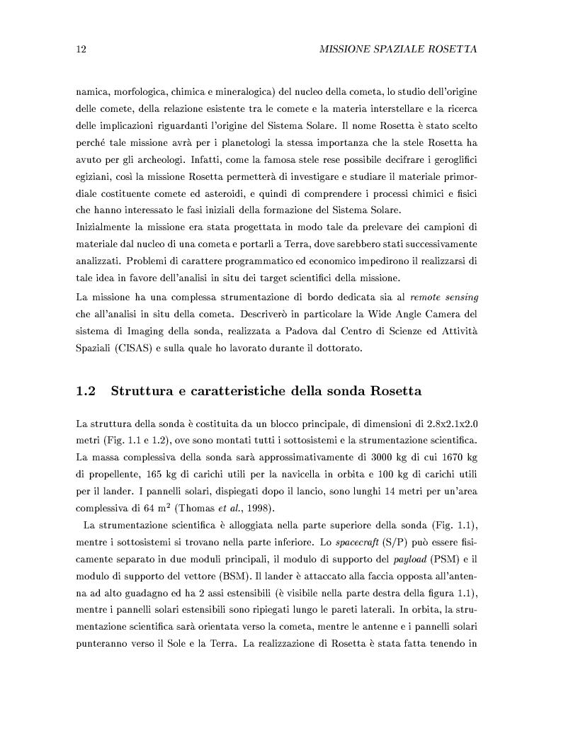 Anteprima della tesi: Missione Rosetta: caratterizzazione scientifica della Wide Angle Camera e studio fisico di corpi minori del Sistema Solare, Pagina 7