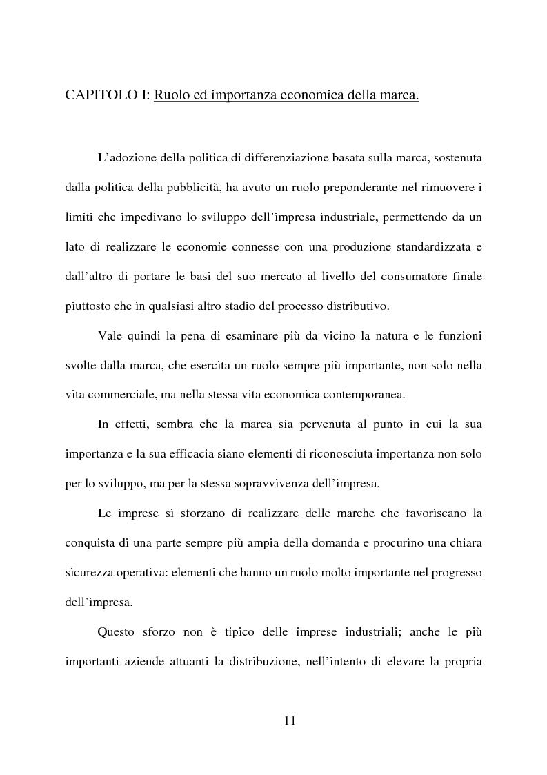 Anteprima della tesi: ''Il marchio'' e la certificazione di qualità dei prodotti di largo consumo, Pagina 10