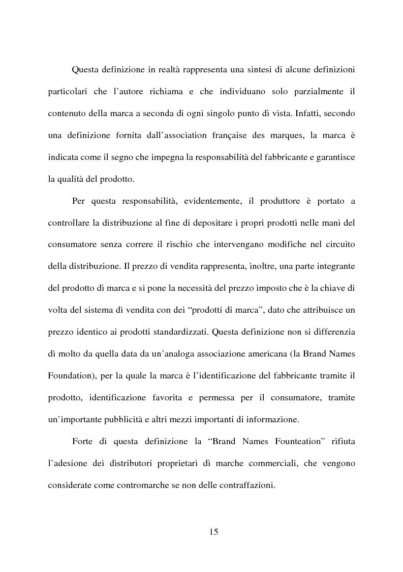 Anteprima della tesi: ''Il marchio'' e la certificazione di qualità dei prodotti di largo consumo, Pagina 14