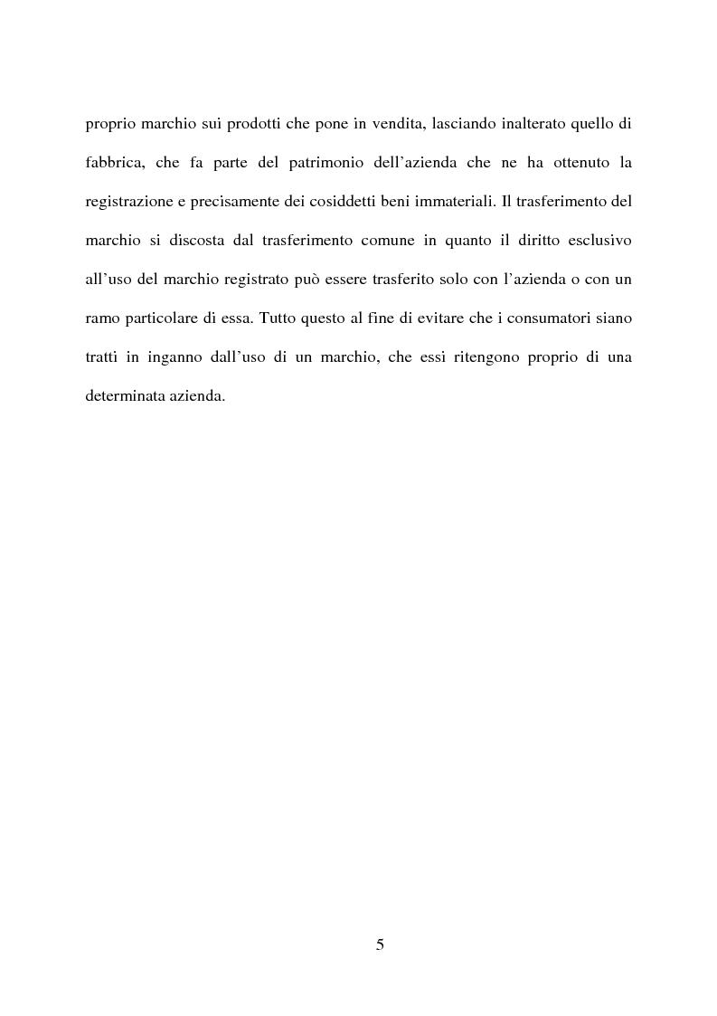 Anteprima della tesi: ''Il marchio'' e la certificazione di qualità dei prodotti di largo consumo, Pagina 4