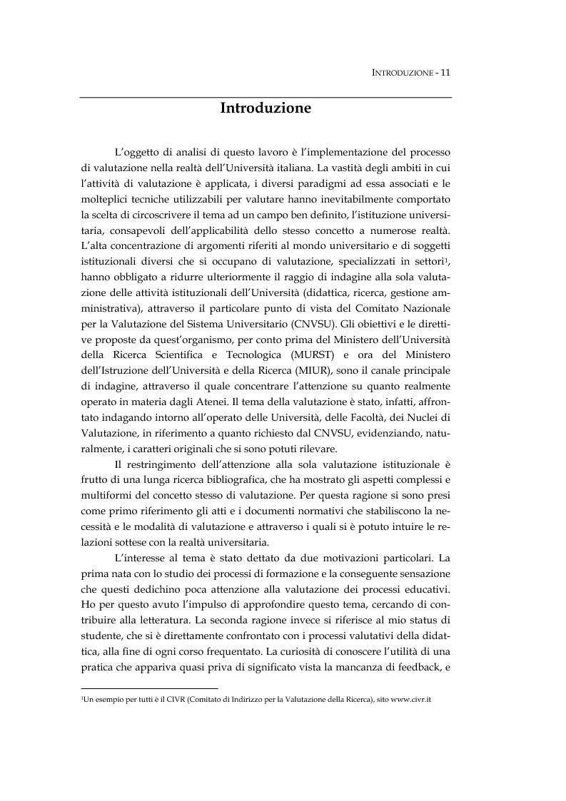 Anteprima della tesi: L'università valutata: concetti e metodi di valutazione tra adempimenti e risultati, Pagina 1