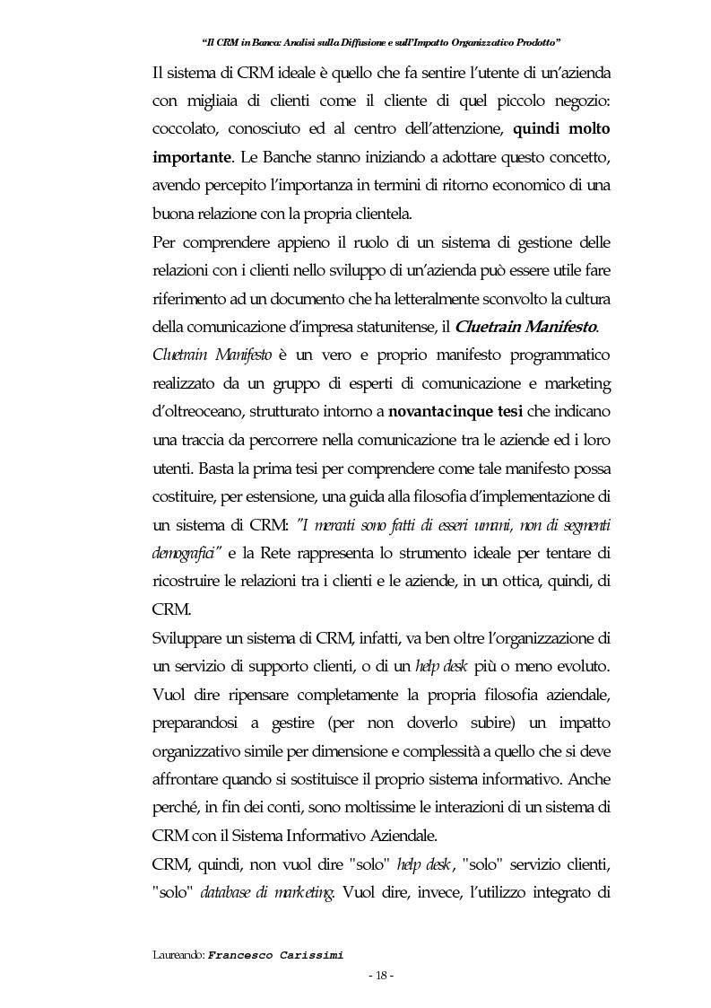 Anteprima della tesi: Il Crm in banca: analisi sulla diffusione e sull'impatto organizzativo prodotto, Pagina 14
