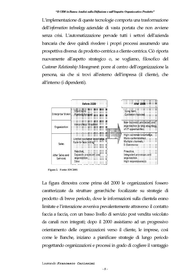 Anteprima della tesi: Il Crm in banca: analisi sulla diffusione e sull'impatto organizzativo prodotto, Pagina 4