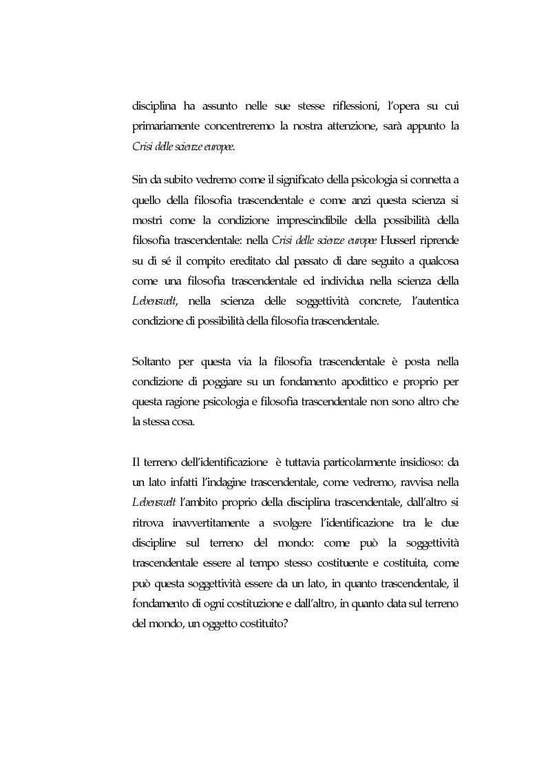 Anteprima della tesi: La psicologia nell'ultimo Husserl. La psicologia è il campo delle decisioni, Pagina 2