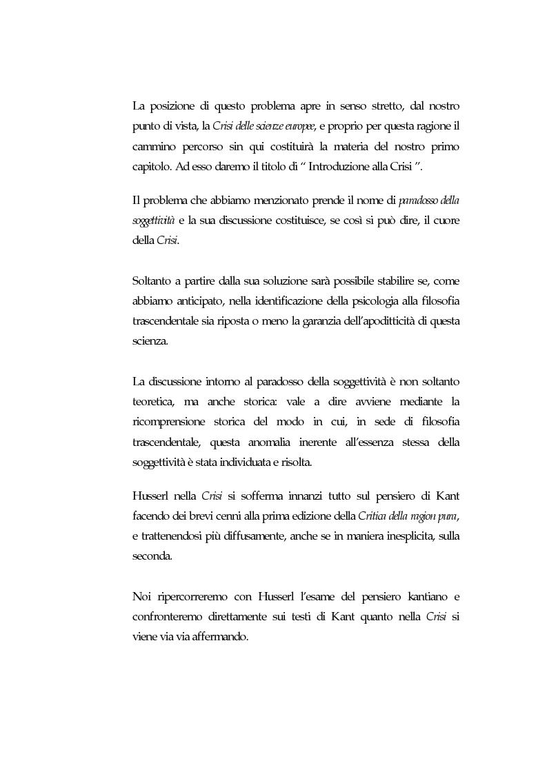 Anteprima della tesi: La psicologia nell'ultimo Husserl. La psicologia è il campo delle decisioni, Pagina 3