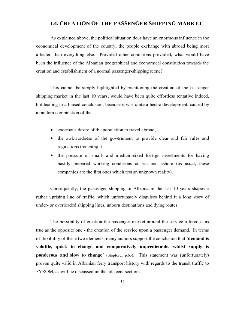 Anteprima della tesi: The development of a passenger shipping line in Albania: Economical and operational consideration., Pagina 11